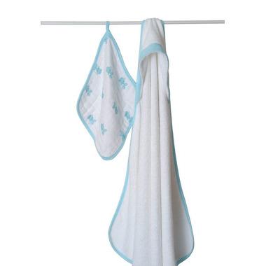 Ręcznik z myjką rybki niebieskie