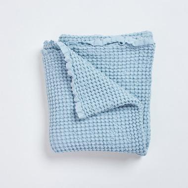 Bimbla, Wafelkowy kocyk lniany Bohem - niebieski