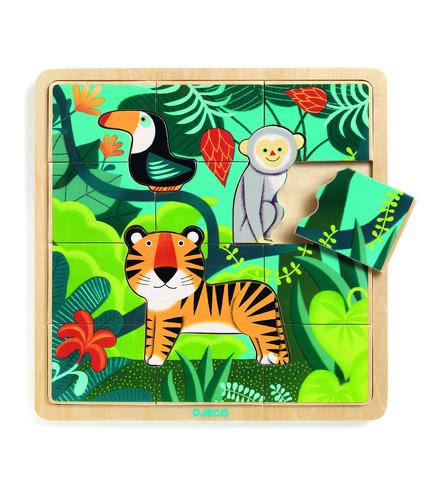 Djeco, Edukacyjne puzzle drewniane Dżungla