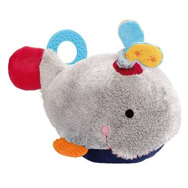Sigikid, Przytulanka aktywizująca Wieloryb z gryzakami, piszczałką, dzwoneczkiem, wibracją i szeleszczącą folią 6m+ PlayQ