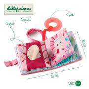 Lilliputiens, Mini-książeczka wielofunkcyjna z szeleszczącą folią i gryzakiem Jednorożec Louise 6 m+