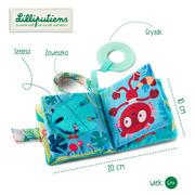 Lilliputiens, Mini-książeczka wielofunkcyjna z szeleszczącą folią i gryzakiem Lemur George 6 m+