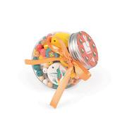 Janod, Zestaw do tworzenia biżuterii Drewniane koraliki z elementami fluorescencyjnymi Kolibry