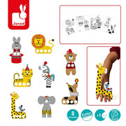 Janod, Zestaw kreatywny Papierowe marionetki na palce Cyrkowe zwierzęta