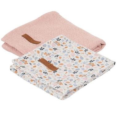 Little Dutch, Otulacze 70 x 70 cm Pure pink / Spring Flowers (2 sztuki)