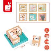 Janod, Klocki drewniane Puzzle 6w1 Żyrafka Sophie