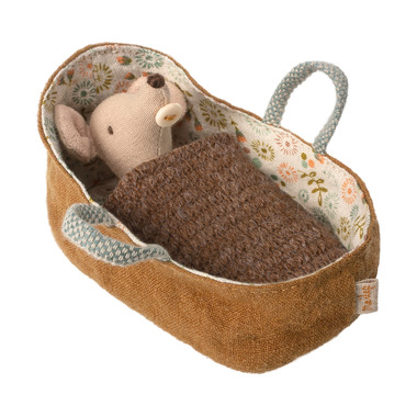 Maileg, Myszka - Baby mouse in carrycot