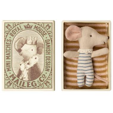 Maileg, Myszka - Baby mouse, Sleepy/wakey in box - Boy