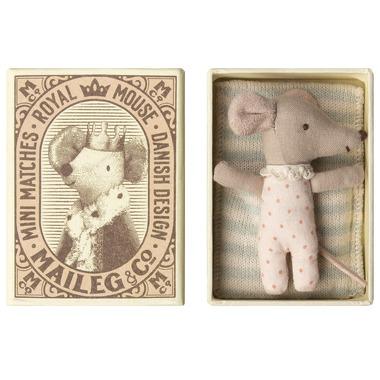 Maileg, Myszka - Baby mouse, Sleepy/wakey in box - Girl