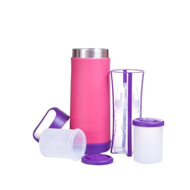 Duży termos do butelek i żywności (różowo-fioletowy)
