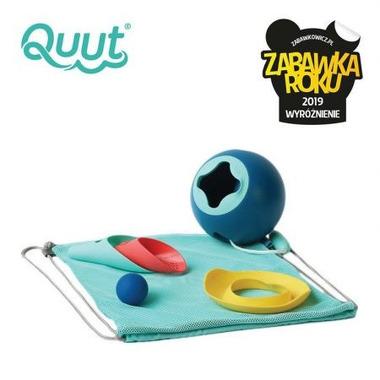 QUUT - Set plażowy wiaderko Mini Ballo + 2 łopatki z piłeczką Cuppi + foremka Magic shaper Heart w worku, edycja limitowana