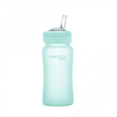 Szklana butelka z silikonową słomką