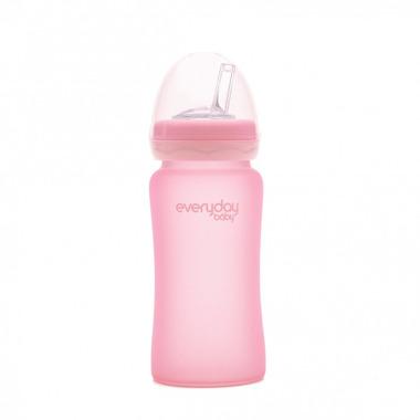 Szklana butelka z silikonową słomką różany róż