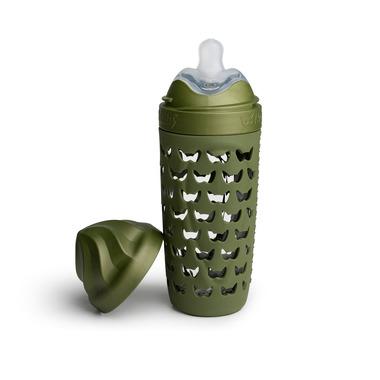 Herobility, Szklana butelka antykolkowa HeroEcoBottle - zielona, 320 ml