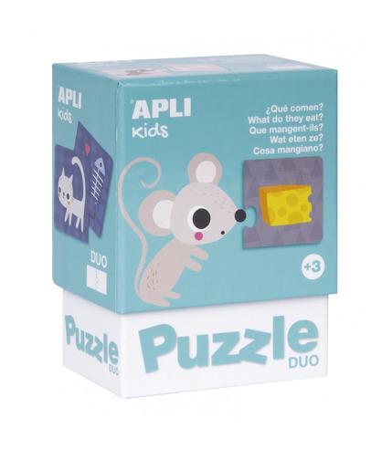 Apli Kids, Puzzle dwuczęściowe - Co jedzą zwierzątka? 3+