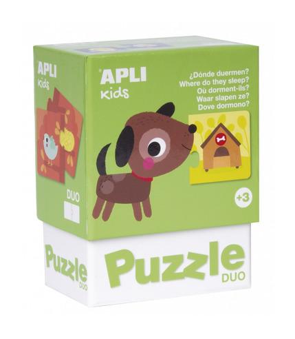 Apli Kids, Puzzle dwuczęściowe - Gdzie mieszkają zwierzątka? 3+