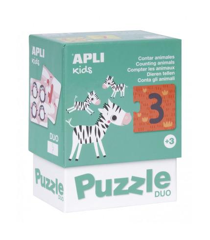 Apli Kids, Puzzle dwuczęściowe - Liczenie zwierzątek 3+