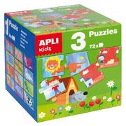 Apli Kids, Zestaw Puzzli dla dzieci 3w1