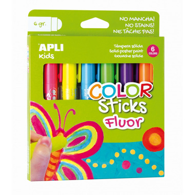 Apli Kids, Farby w kredce neonowe - 6 kolorów