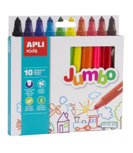 Apli Kids, Flamastry Jumbo - 10 kolorów