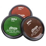 Apli Kids, Zestaw tuszy do stempli - Zielony/Pomarańczowy/ Brązowy