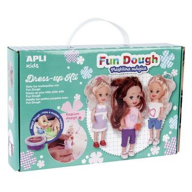 Apli Kids, Zestaw do stylizacji z 3 małymi laleczkami i masą plastyczną