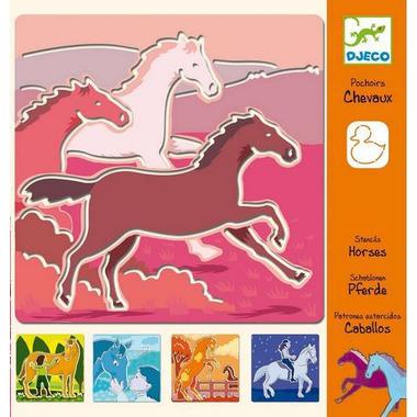 Djeco, szablon do rysowania - Konie