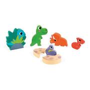 Janod, Układanka drewniana 3D Zabawa w chowanego Dinozaury