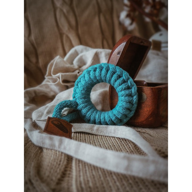 Hi Little One, gryzak sznurkowy Teether wood and cotton dark teal