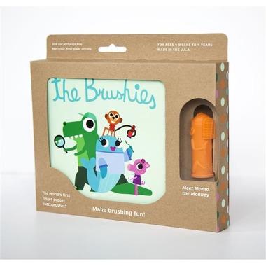 The Brushies, Szczoteczka silikonowa na palec Małpka MOMO z książeczką
