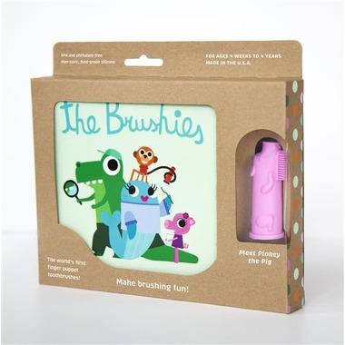 The Brushies, Szczoteczka silikonowa na palec Świnka PINKEY z książeczką