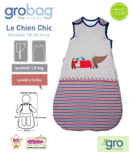 Gro Company, Śpiworek Grobag Le Chien Chic - grubość 1,0 tog 18-36 m