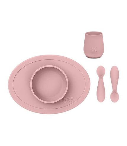 EZPZ, Komplet pierwszych naczyń silikonowych First Foods Set pastelowy róż