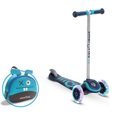Smart Trike, Hulajnoga Scooter T3 + świecące koła LED + torba-niebieska