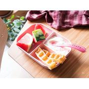 Beaba, Komplet naczyń z silikonu trójdzielny talerz z przyssawką + łyżeczka Pink
