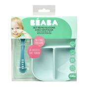 Beaba, Komplet naczyń z silikonu trójdzielny talerz z przyssawką + łyżeczka Blue