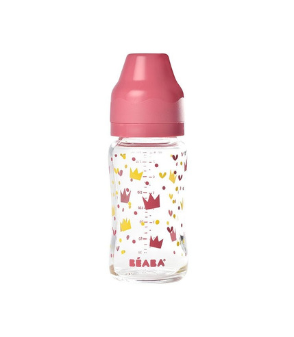 Beaba, Butelka szklana szerokootworowa 240 ml Yellow / Pink Crown
