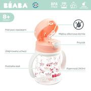Beaba, Butelka-bidon tritanowa ze słomką 240 ml Light pink