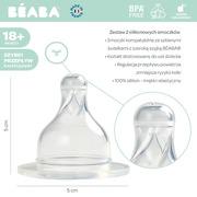Beaba, Zestaw 2 smoczków do butelek szerokootworowych, szybki przepływ, kaszka 18m+