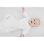Aden & Anais, bawełniany śpiworek z rękawkami snug fit kremowo – miętowy TOG 1.5, 0-3m