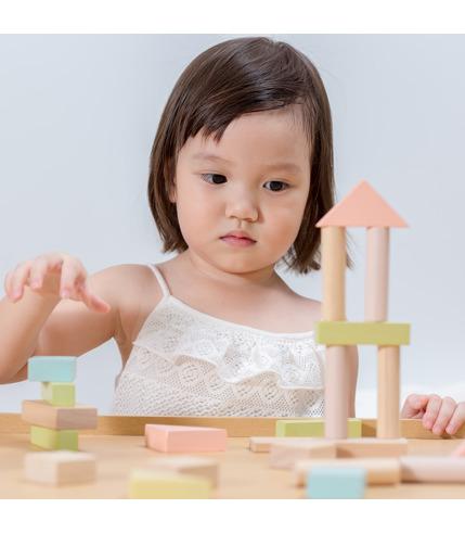 Plan Toys, Pastelowe klocki drewniane...