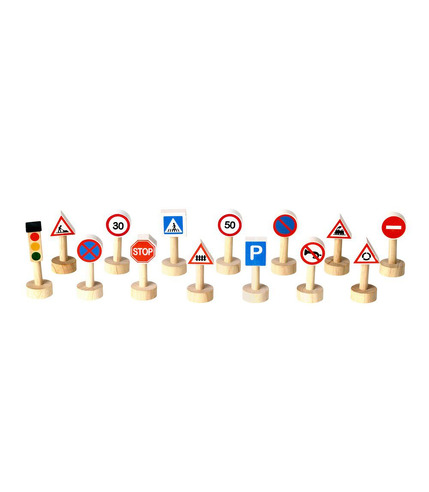 Drewniane znaki drogowe i światła, Plan Toys