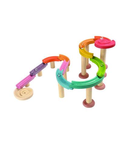 Drewniany kolorowy tor kulkowy deluxe, Plan Toys