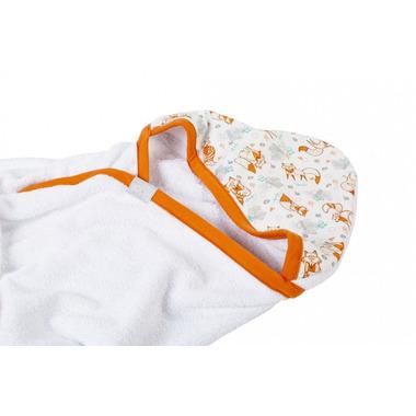 Poofi, ręcznik z kapturkiem Liski z rudą lamówką 90x90 cm
