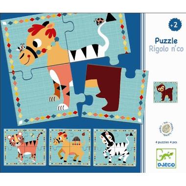 Djeco, zestaw 4 puzzli - Zabawne Zwierzątka