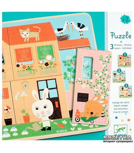 Puzzle dla najmłodszych 3 plansze-Króliczki Djeco