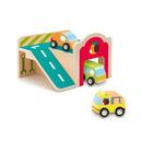 Drewniany garaż z autami Djeco
