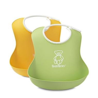BabyBjorn, 2 śliniaki - zielony / żółty