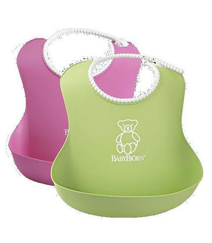 2 śliniaki - zielony / różowy BabyBjorn