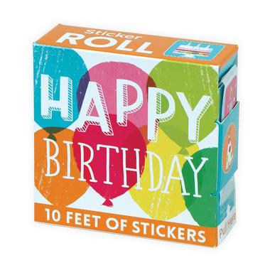 Mudpuppy, naklejki na rolce - Happy birthday,